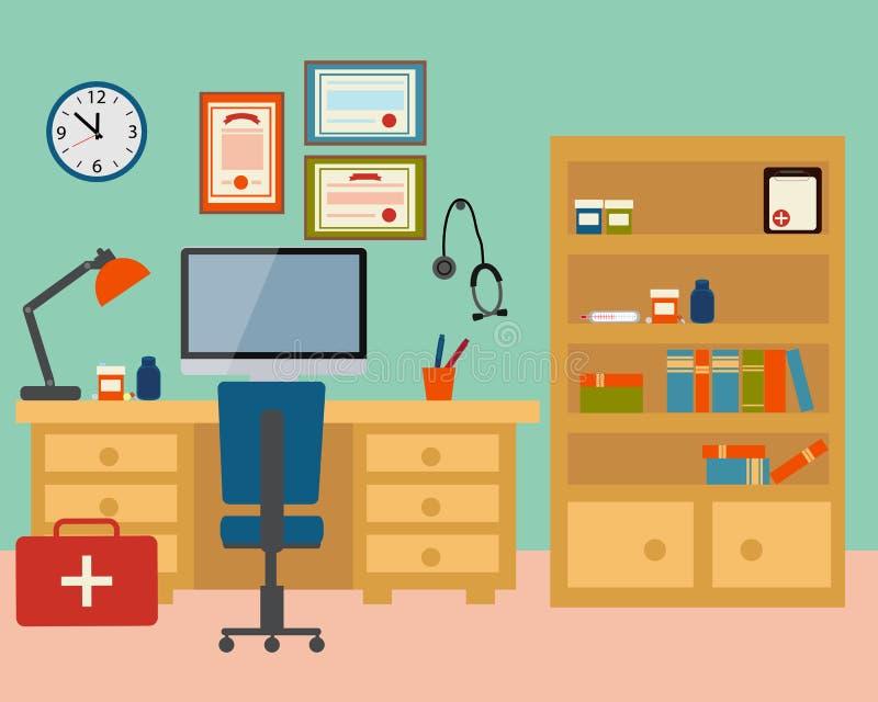 Lugar de trabajo del doctor stock de ilustración