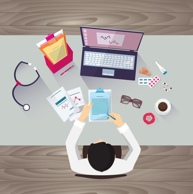 Lugar de trabajo del doctor, ejemplo del vector Persona masculina stock de ilustración
