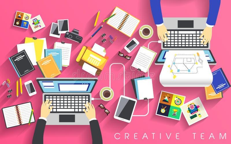 Lugar de trabajo del equipo creativo en plano ilustración del vector