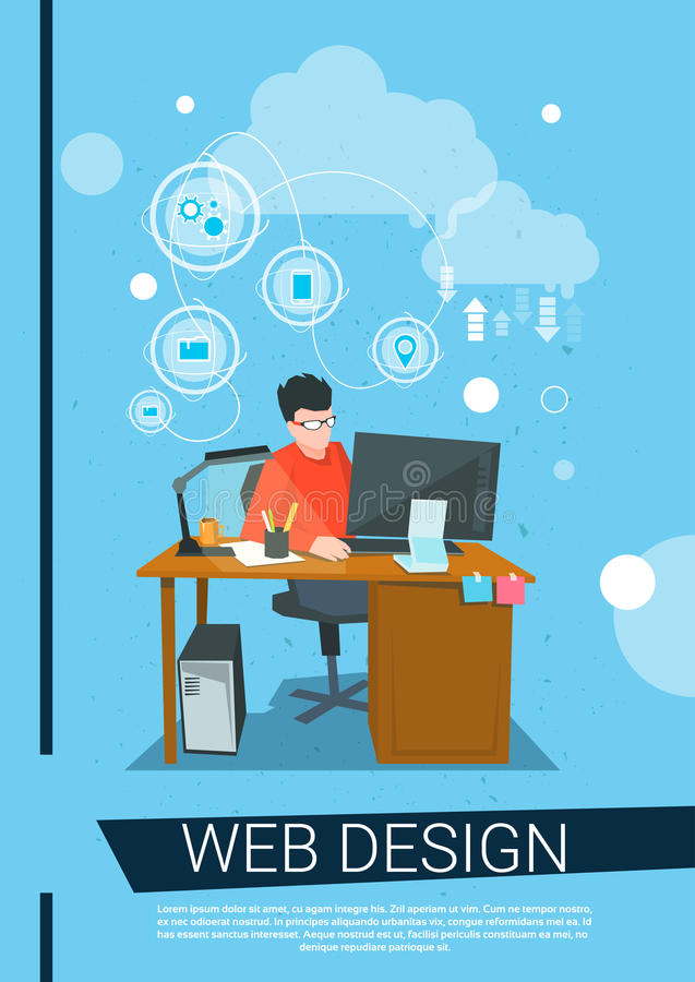 Lugar de trabajo del equipo de escritorio de Business Man Work del diseñador web libre illustration