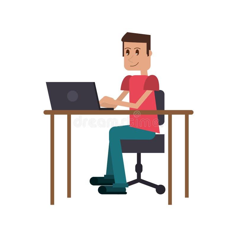 Lugar de trabajo del escritorio del ordenador portátil del individuo stock de ilustración