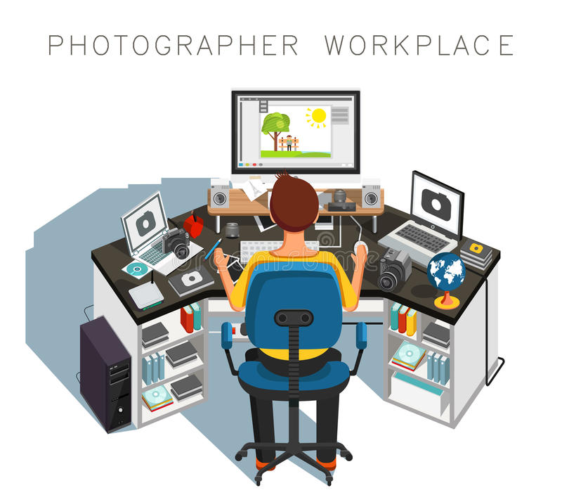 Lugar de trabajo del fotógrafo Fotógrafo en el trabajo Vector stock de ilustración