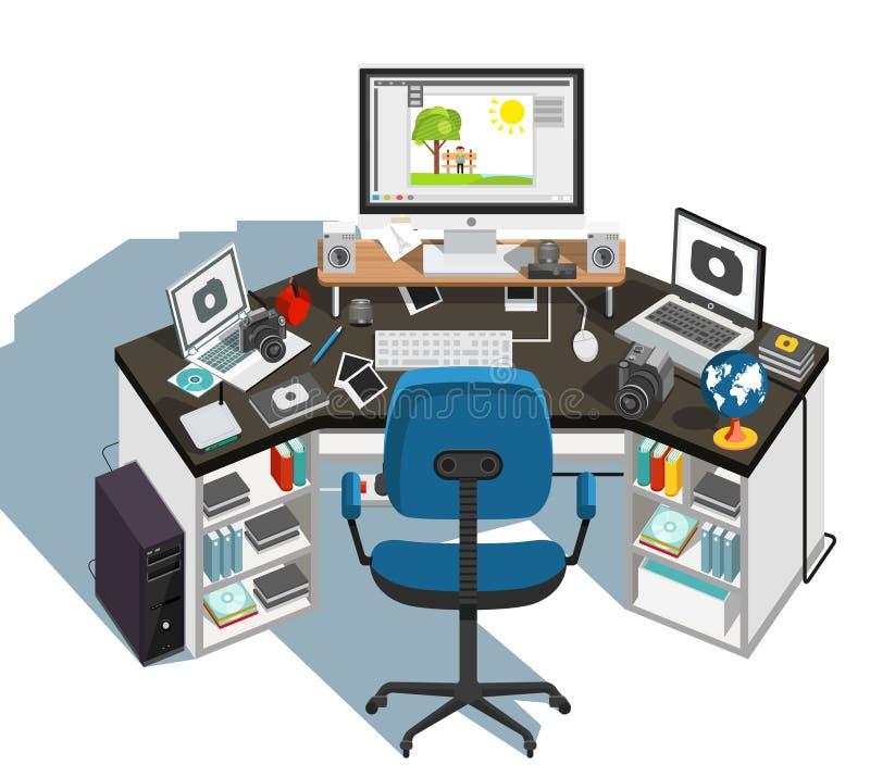 Lugar de trabajo del fotógrafo Vector libre illustration