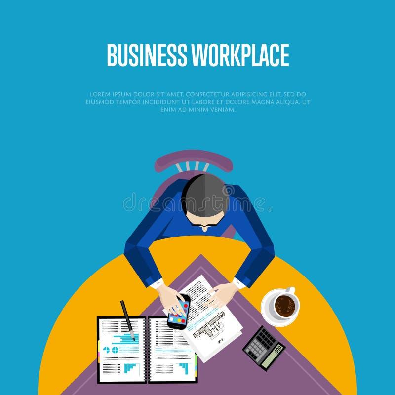 Lugar de trabajo del negocio de la visión superior en estilo plano libre illustration