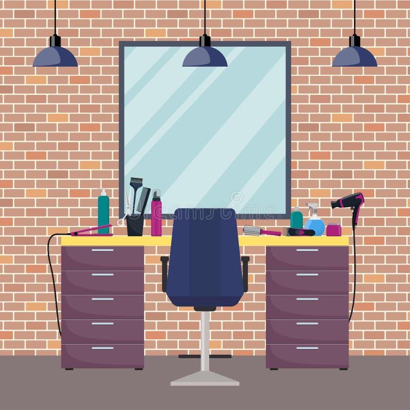 Lugar de trabajo del peluquero s en salón de la peluquería de la belleza de la mujer Silla, espejo, tabla, herramientas de la pel ilustración del vector