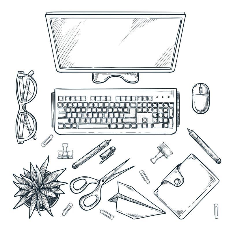 Lugar de trabajo, ejemplo de la opinión superior del bosquejo Tabla de la oficina con el monitor de computadora, el cactus y efec stock de ilustración