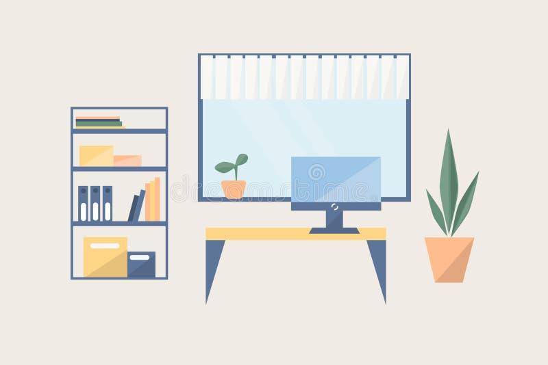 Lugar de trabajo en estilo plano stock de ilustración