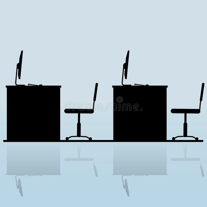 Lugar de trabajo en silueta del escritorio de oficina stock de ilustración