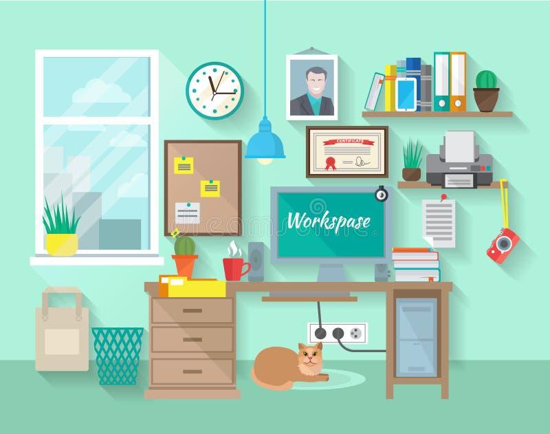 Lugar de trabajo en sitio ilustración del vector