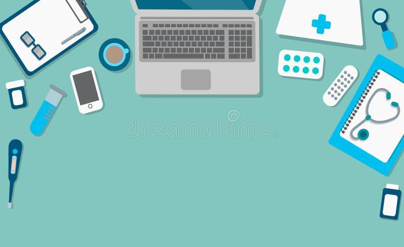 Lugar de trabajo en una clínica moderna libre illustration
