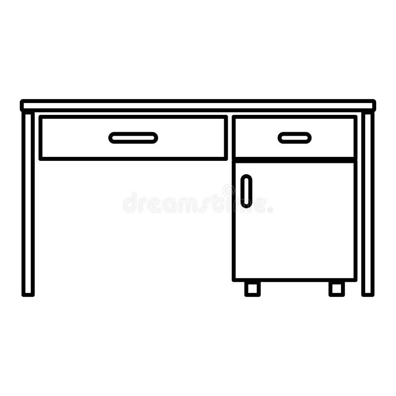 Lugar de trabajo escrito de la tabla del escritorio de oficina de negocios del escritorio en imagen plana del estilo del ejemplo  stock de ilustración
