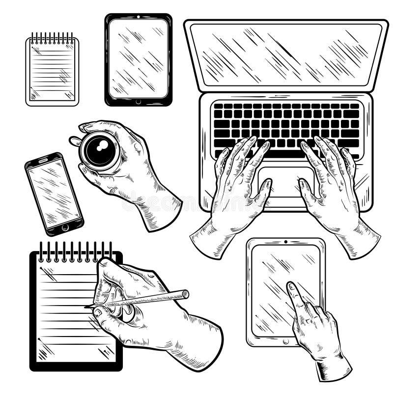 Lugar de trabajo gráfico con las manos fijadas libre illustration
