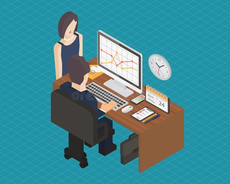 Lugar de trabajo isométrico 3d del negocio ilustración del vector