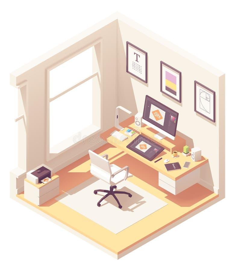 Lugar de trabajo isométrico del diseñador gráfico del vector libre illustration