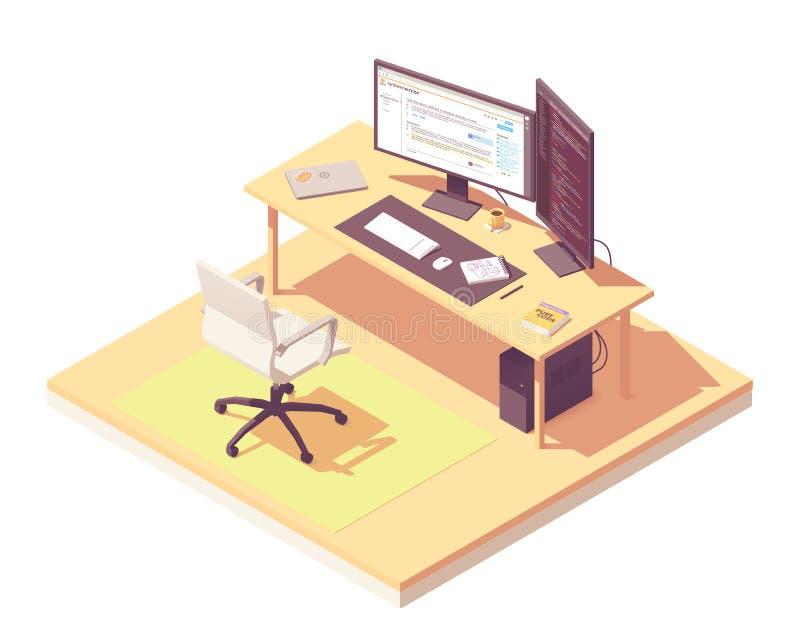 Lugar de trabajo isométrico del programador del vector ilustración del vector