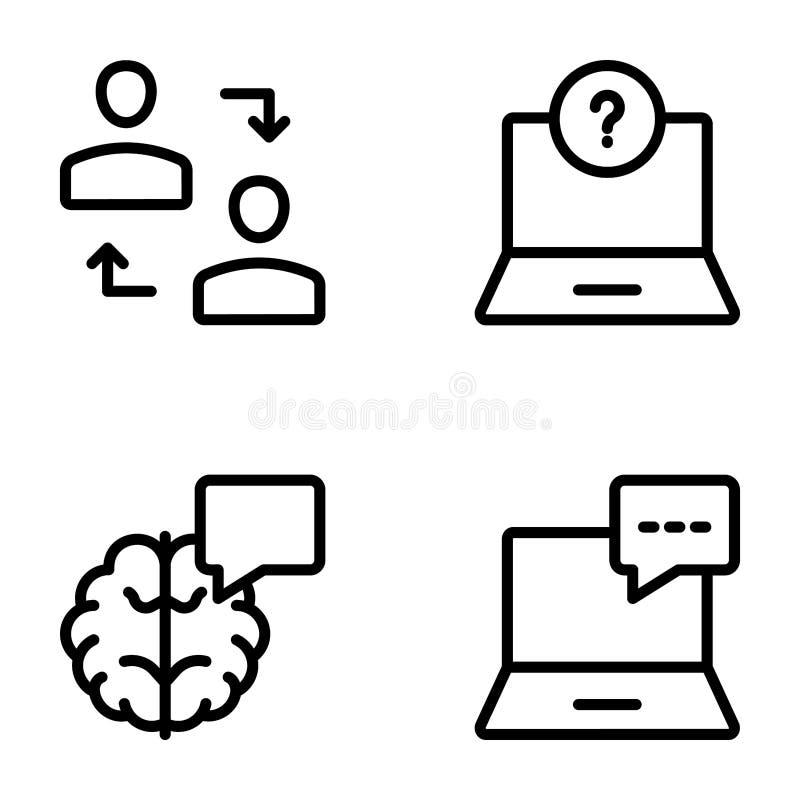Lugar de trabajo, línea de comunicación empresarial iconos ilustración del vector