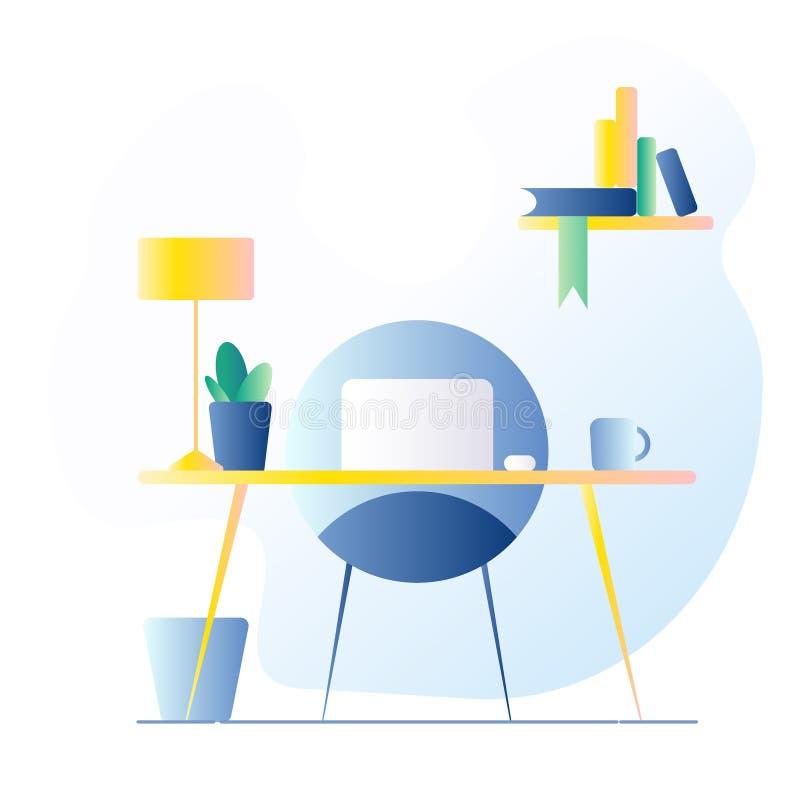 Lugar de trabajo de la oficina En la tabla es un ordenador portátil, lámpara, taza, cactus Ejemplo del vector con el terraplén de ilustración del vector