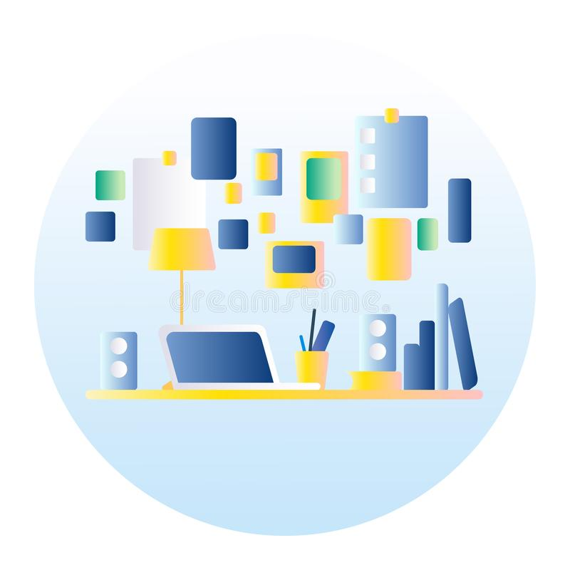 Lugar de trabajo de la oficina En la tabla es un ordenador portátil, lámpara, taza, cactus Ejemplo del vector con el terraplén de libre illustration