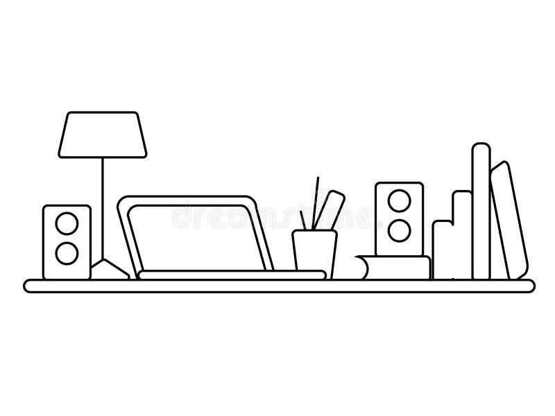 Lugar de trabajo de la oficina En la tabla es un ordenador portátil, lámpara, taza Ejemplo del vector con la línea negra libre illustration