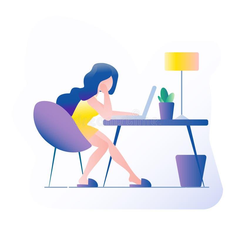 Lugar de trabajo de la oficina La muchacha se sienta en la tabla En la tabla es un ordenador portátil, lámpara, taza, cactus Ejem ilustración del vector