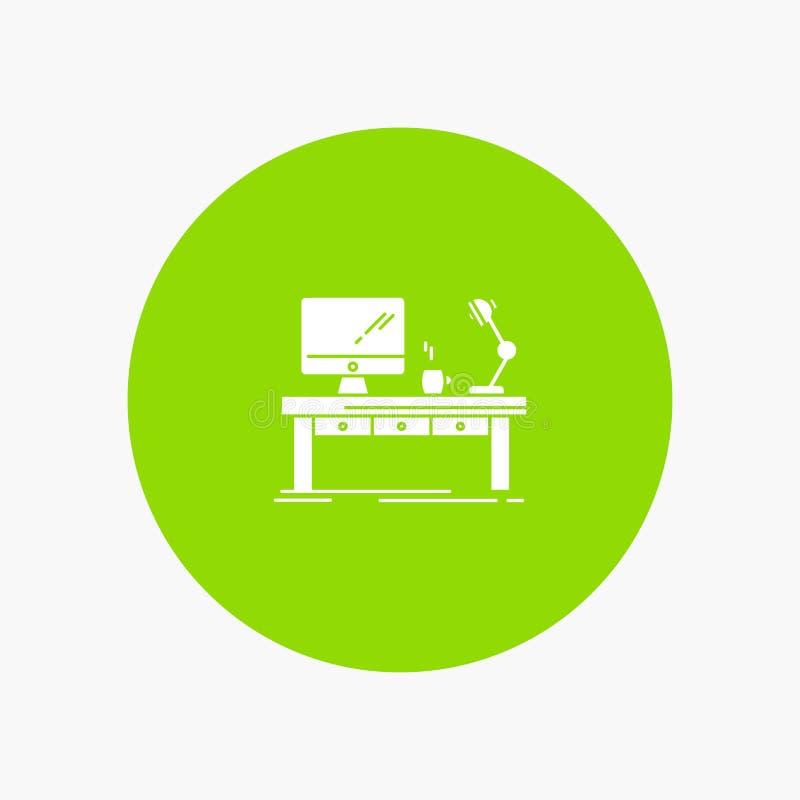 Lugar de trabajo, negocio, ordenador, escritorio, lámpara, oficina, tabla libre illustration