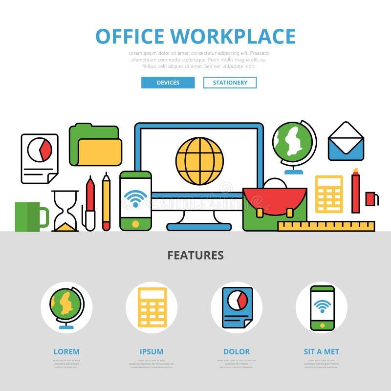 Lugar de trabajo plano linear Te infographic de la oficina libre illustration