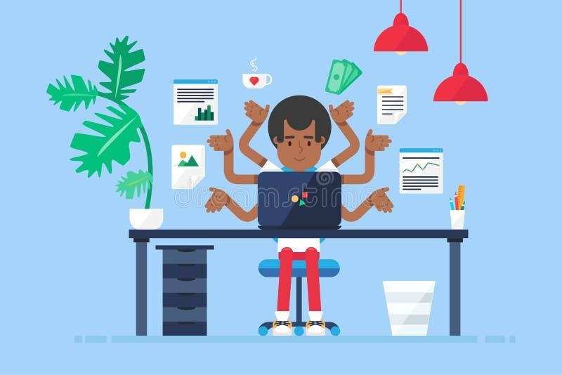 Lugar de trabajo profesional con el afroamericano stock de ilustración