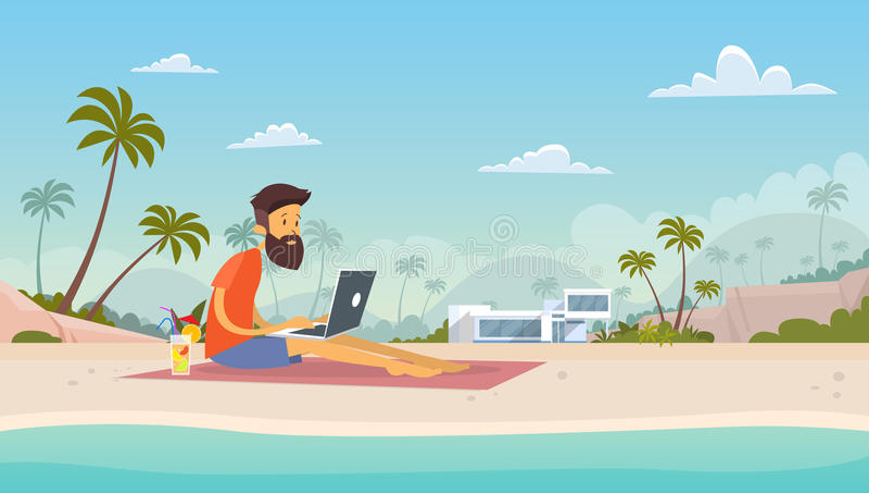 Lugar de trabajo remoto independiente del hombre usando la isla tropical de las vacaciones de verano de la playa del ordenador po libre illustration