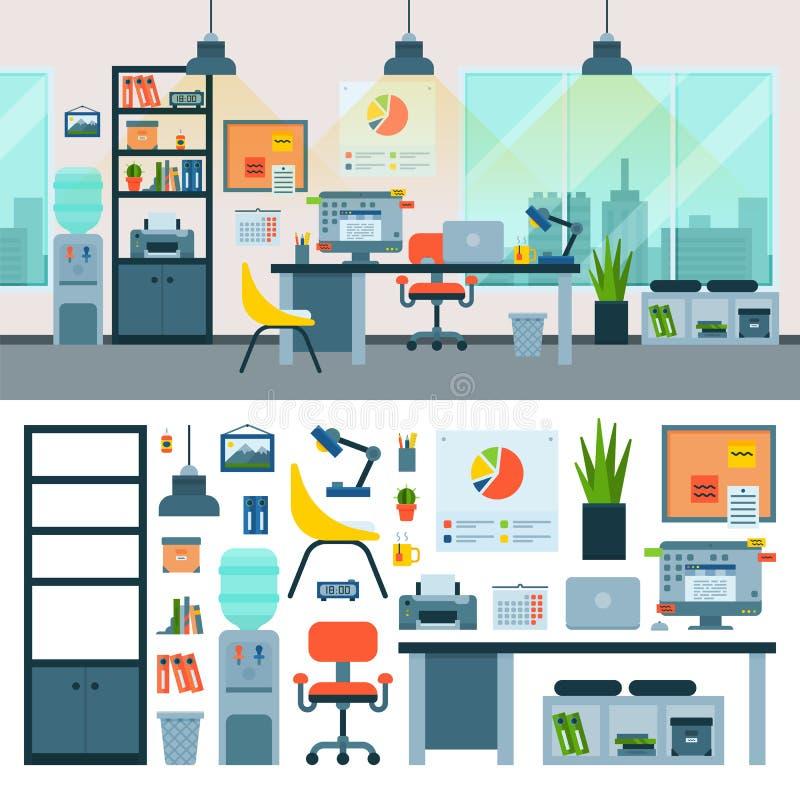 Lugar de trabalho do vetor do escritório com a tabela do computador e da mobília dos trabalhadores ou cadeira no interior forneci ilustração royalty free