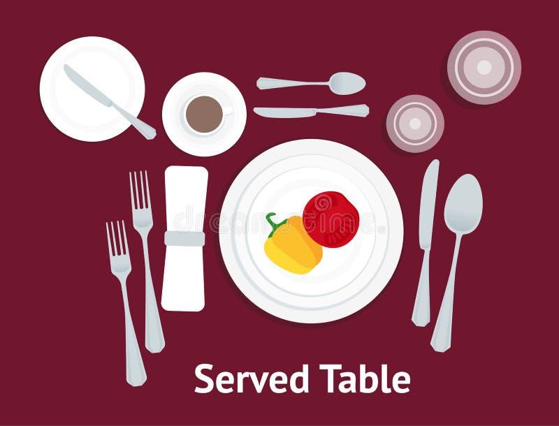 Lugar del ajuste de la tabla de la historieta formal con las verduras Vector ilustración del vector