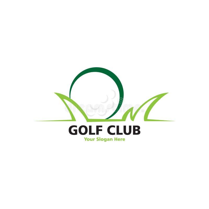 Lugar del golf con el logotipo de la hierba ilustración del vector