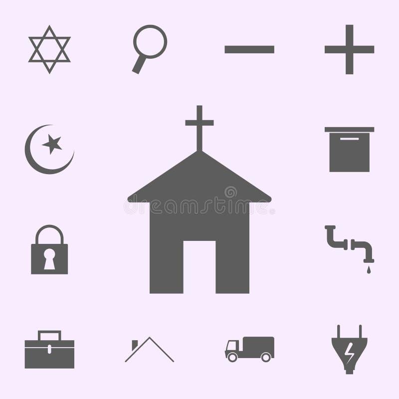 lugar del icono de la iglesia muestras del sistema universal de los iconos de los pernos para la web y el m?vil stock de ilustración
