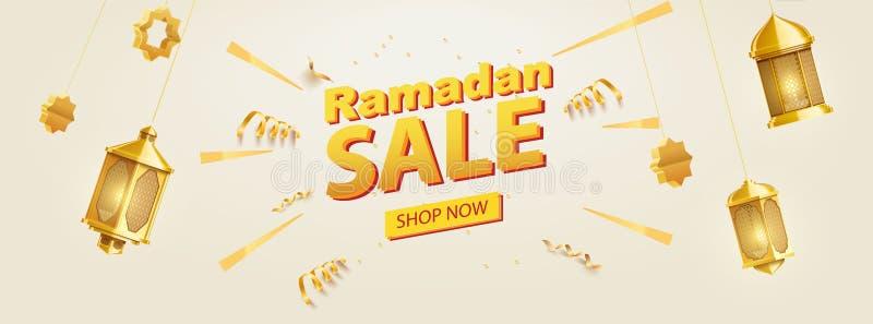 Lugar do fundo do kareem de ramadan do ouro para a bandeira da venda do texto imagens de stock