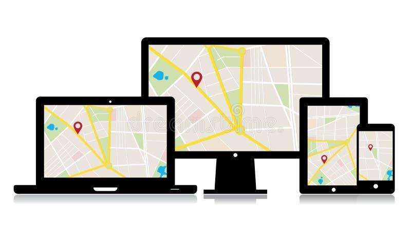 Lugar do mapa dos dispositivos do vetor ilustração royalty free