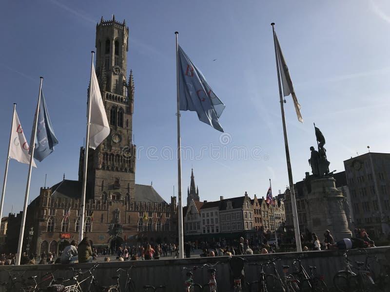Lugar do marcador em Bruges, Bélgica fotos de stock
