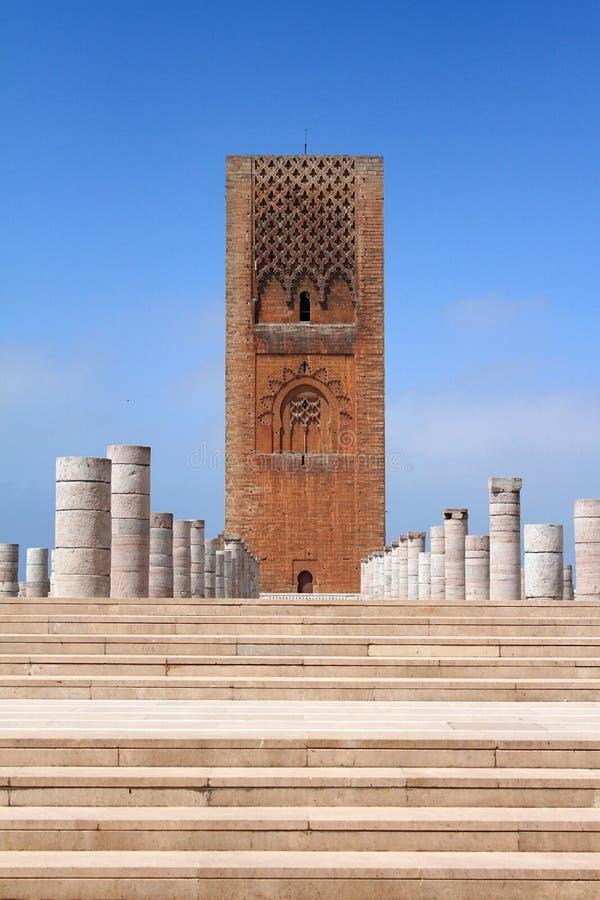 Lugar do mausoléu Mohammed V, e a torre fotografia de stock royalty free