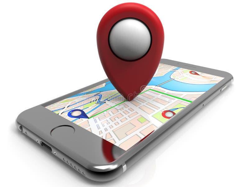 Lugar do pinpoint do vermelho de Smartphone ilustração do vetor