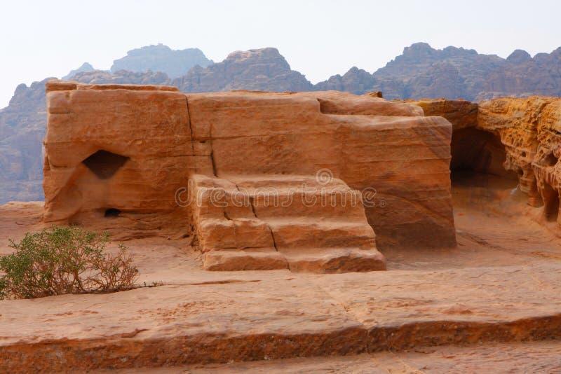 Lugar do sacrifício em PETRA antigo, fotos de stock royalty free