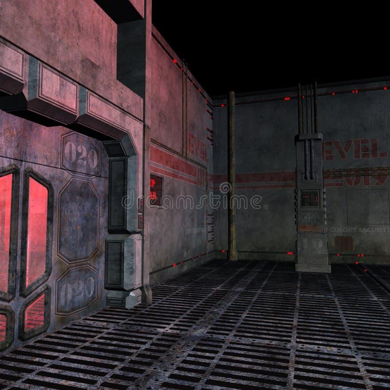 Lugar escuro e assustador em um ajuste do scifi. 3D ilustração stock