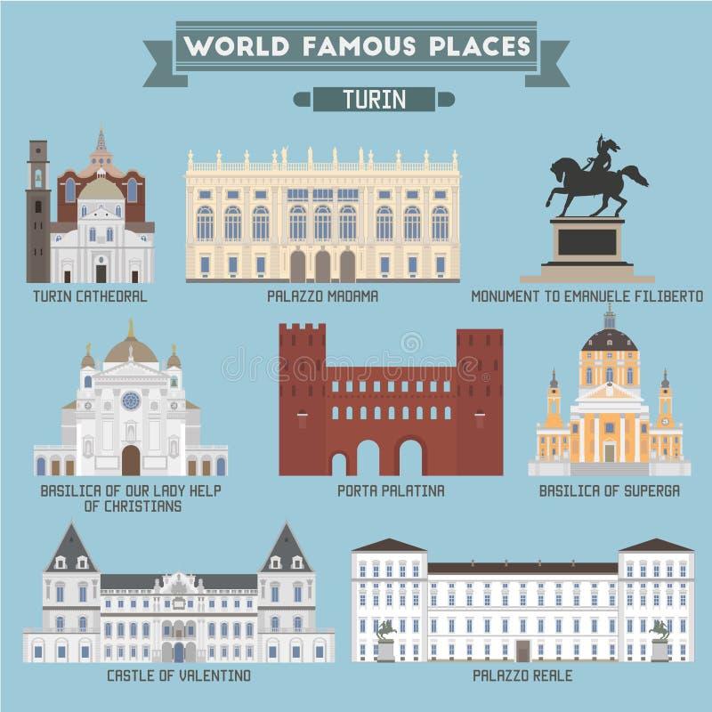 Lugar famoso Italia turín stock de ilustración