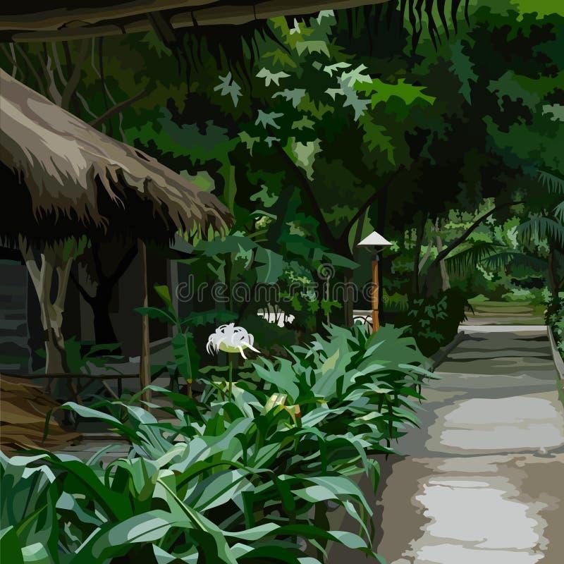 Lugar hermoso con los edificios en una vegetación densa tropical libre illustration