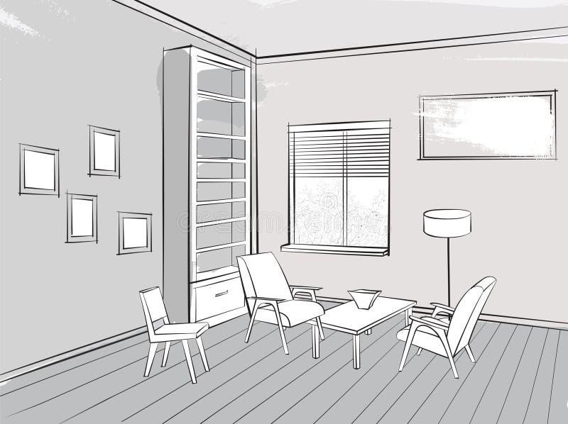 Lugar interior del bosquejo del salón de la sala de estar para leer con armcha ilustración del vector