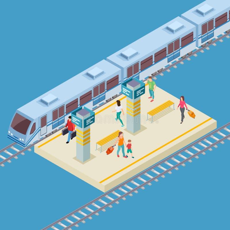 Lugar isométrico do vetor da estação de trem da cidade 3d ilustração do vetor