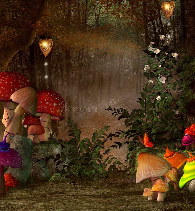 Lugar mágico na floresta ilustração stock
