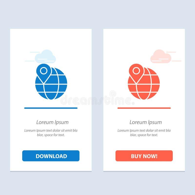 Lugar, mapa, globo, azul do Internet e transferência vermelha e para comprar agora o molde do cartão do Widget da Web ilustração do vetor