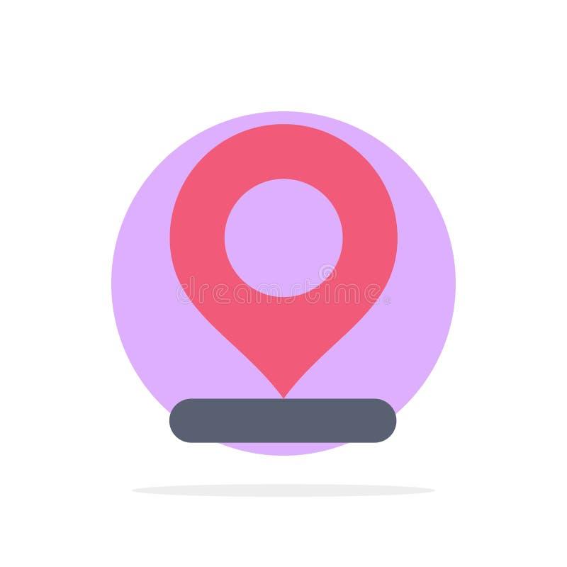 Lugar, mapa, marcador, ícone da cor de Pin Abstract Circle Background Flat ilustração do vetor