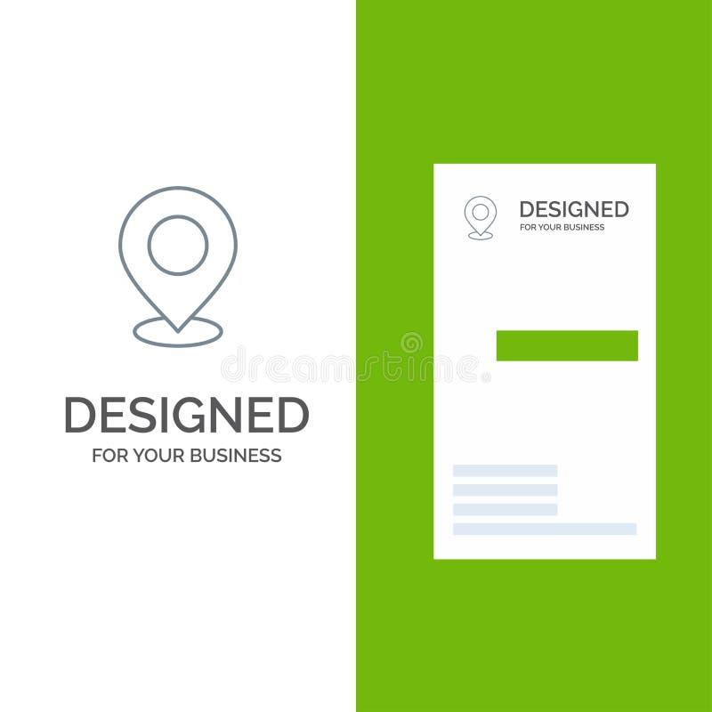 Lugar, mapa, Mark, marcador, Pin, lugar, ponto, ponteiro Grey Logo Design e molde do cartão ilustração stock