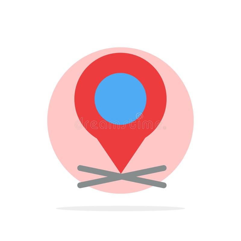 Lugar, mapa, ponteiro, ícone da cor de Pin Abstract Circle Background Flat ilustração stock