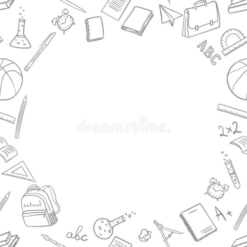 Lugar para el texto con los elementos de la escuela en vuelta a la escuela en el estilo del garabato en un fondo blanco Ilustraci ilustración del vector