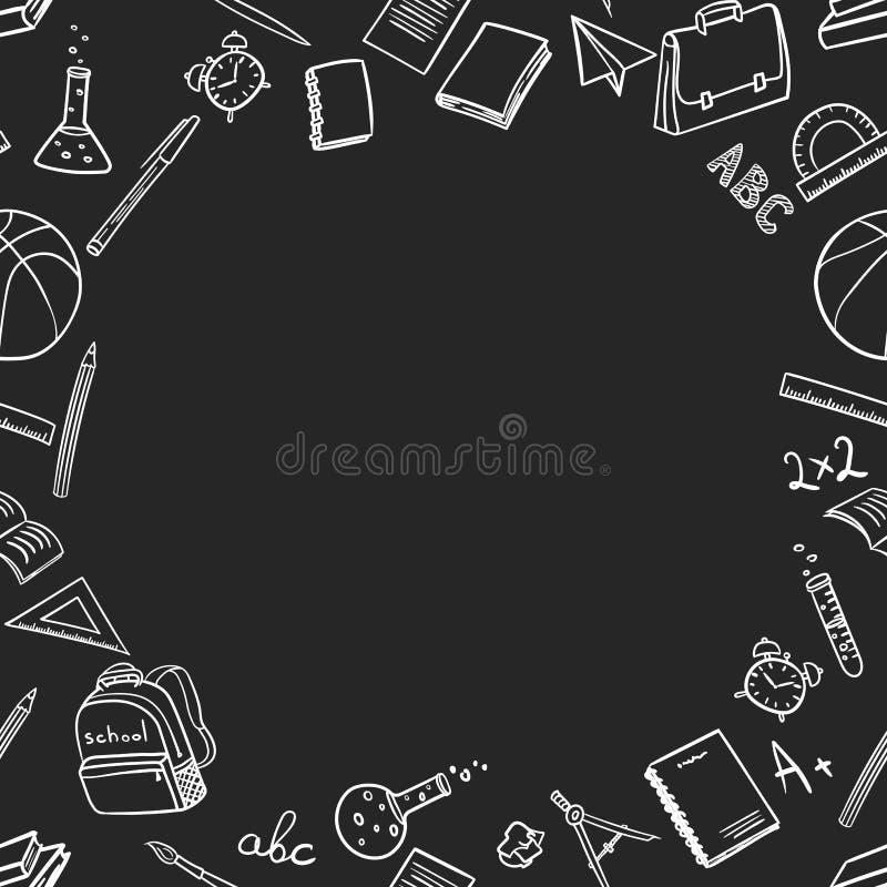 Lugar para el texto con los elementos de la escuela en vuelta a la escuela en el estilo del garabato en un fondo negro Ilustraci? ilustración del vector